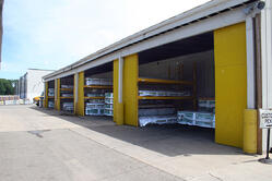 James Hardie siding stored covered to protect from the elements
