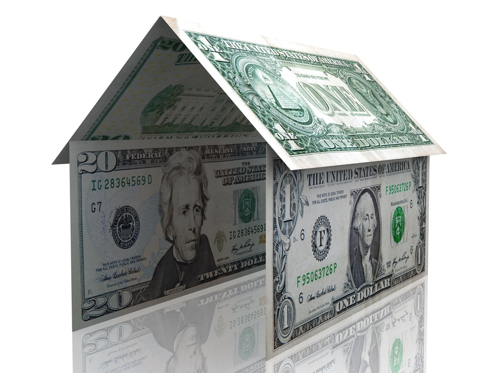 3D dollar house - isolated over a white background
